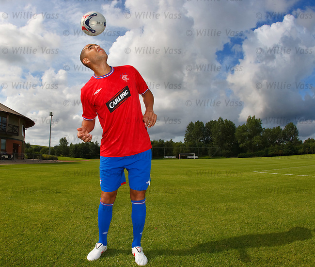 Madjid Bougherra with the new Rangers away kit