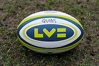 20130309 Copyright onEdition 2013©.Free for editorial use image, please credit: onEdition..The LV= Cup semi final match ball before the LV= Cup semi final match between Harlequins and Bath Rugby at The Twickenham Stoop on Saturday 9th March 2013 (Photo by Rob Munro)..For press contacts contact: Sam Feasey at brandRapport on M: +44 (0)7717 757114 E: SFeasey@brand-rapport.com..If you require a higher resolution image or you have any other onEdition photographic enquiries, please contact onEdition on 0845 900 2 900 or email info@onEdition.com.This image is copyright onEdition 2013©..This image has been supplied by onEdition and must be credited onEdition. The author is asserting his full Moral rights in relation to the publication of this image. Rights for onward transmission of any image or file is not granted or implied. Changing or deleting Copyright information is illegal as specified in the Copyright, Design and Patents Act 1988. If you are in any way unsure of your right to publish this image please contact onEdition on 0845 900 2 900 or email info@onEdition.com
