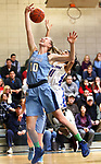 WATERBURY CT. 16 February 2018-021619SV10-#10 Molly Sastram of Oxford and #11 Janessa Gonzalez of St. Paul battle for the loose ball during the NVL girl&rsquo;s basketball tournament in Waterbury Saturday.<br /> Steven Valenti Republican-American