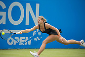 June 11th 2017, Nottingham, England;WTA Aegon Nottingham Open Tennis Tournament day 2;  Jana Fett of Croatia at full stretch on her way to victory over Sachia Vickery of USA in two sets