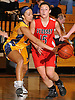 Molly Breslow #15 of Syosset, right, looks to pass under pressure from Kole Pollock #14 of Massapequa during a Nassau County Conference AA-I varsity girls' basketball game at Massapequa High School on Friday, Jan. 15, 2016. Massapequa won by a score of 60-33.