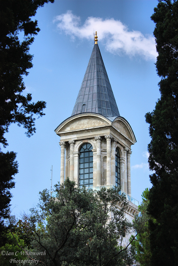 A view of the tower at Topkapi Palace in Istanbul, Turkey