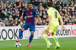 Jose Paulo Bezerra Maciel Junior, Paulinho, of FC Barcelona (L) fights for the ball with Mathieu Flamini of Getafe CF (R) during the La Liga 2017-18 match between FC Barcelona and Getafe FC at Camp Nou on 11 February 2018 in Barcelona, Spain. Photo by Vicens Gimenez / Power Sport Images