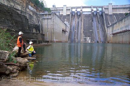 Engineers inspect main spillway at Warragamba Dam, Sydney's main water supply. Western Sydney, NSW