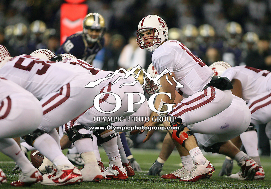 Oct 30, 20010:  Stanford quarterback #12 Andrew Luck gets set under center against Washington.  Stanford defeated Washington 41-0 at Husky Stadium in Seattle, Washington.