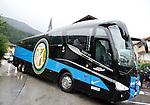 Inter Milan Football Club Summer Camp 2014. Football players arrives with their new bus to Beverly Hotel on 09/07/2014 in Pinzolo, Italy.
