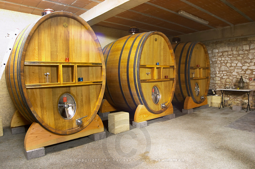 Domaine Peyre Rose, St Pargoire. Gres de Montpellier. Languedoc. Wooden fermentation and storage tanks. France. Europe.