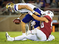 Stanford, CA - October 5, 2019: Gabe Reid at Stanford Stadium. The Stanford Cardinal beat the University of Washington Huskies 23-13.