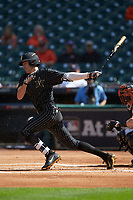 Connor Kaiser (12) of the Vanderbilt Commodores follows through on his swing against the Sam Houston State Bearkats in game one of the 2018 Shriners Hospitals for Children College Classic at Minute Maid Park on March 2, 2018 in Houston, Texas. The Bearkats walked-off the Commodores 7-6 in 10 innings.   (Brian Westerholt/Four Seam Images)