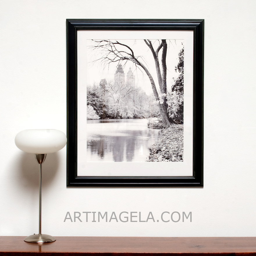 "D'Amore: ""Pond In Park"", Digital Print, Image Dims. 9.5"" x 7"", Framed Dims. 13.25"" x 11"" , film art, cleared art rental, cleared artwork, cleared artwork for film and tv"