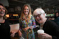 NWA Democrat-Gazette/CHARLIE KAIJO Diane Carroll, Olivia Walton and Sandy Edwards (from left) share a laugh, Thursday, September 13, 2018 at the Holler in Bentonville.<br /><br />Crystal Bridges hosted a press event to give an update on the transformation of a former Kraft Foods plant into The Momentary, a multidisciplinary art and cultural venue expected to open in 2020. The press event included a video walk-through of the space under construction; an update on the development of the project and overview of how it will &Ograve;enhance the Market District and contemporary art landscape&Oacute;.