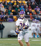 Sean Eccles (#38) passes the ball as UAlbany Men's Lacrosse defeats Richmond 18-9 on May 12 at Casey Stadium in the NCAA tournament first round.
