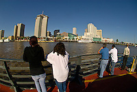 Crossing the Mississippi River from Algiers aboard the Canal Street Ferry with the skyline of New Orleans in back; New Orleans, Louisiana, USA