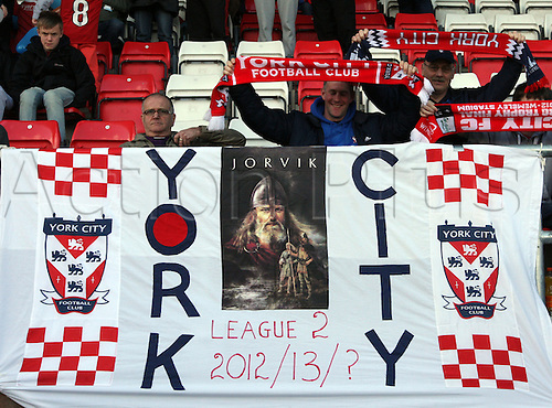 27.04.2013 Dagenham, England. York City Banner after the League Two game between Dagenham & Redbridge and York City from Victoria Road.