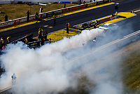 Sep 3, 2017; Clermont, IN, USA; NHRA pro stock driver Shane Gray does a burnout during qualifying for the US Nationals at Lucas Oil Raceway. Mandatory Credit: Mark J. Rebilas-USA TODAY Sports