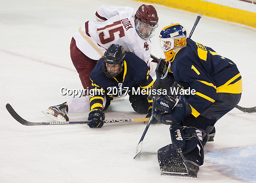 JD Dudek (BC - 15), Tyler Drevitch (Merrimack - 24), Collin Delia (Merrimack - 1) - The visiting Merrimack College Warriors defeated the Boston College Eagles 6 - 3 (EN) on Friday, February 10, 2017, at Kelley Rink in Conte Forum in Chestnut Hill, Massachusetts.