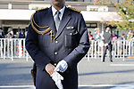 A police officer stands guard before the royal parade to mark the enthronement of Japanese Emperor Naruhito in Tokyo, Japan on Sunday, November 10, 2019. (Photo by AFLO)