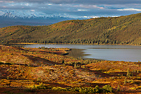 Wonder Lake and autumn tundra, Denali National Park, Interior, Alaska.