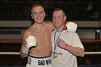 Alex Hughes (white shorts with Gary Lockett) defeats Adam Grabiec during a Boxing Show at York Hall on 30th November 2018