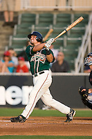 Jake Smolinski #18 of the Greensboro Grasshoppers follows through on his swing versus the Kannapolis Intimidators at Fieldcrest Cannon Stadium June 13, 2009 in Kannapolis, North Carolina. (Photo by Brian Westerholt / Four Seam Images)