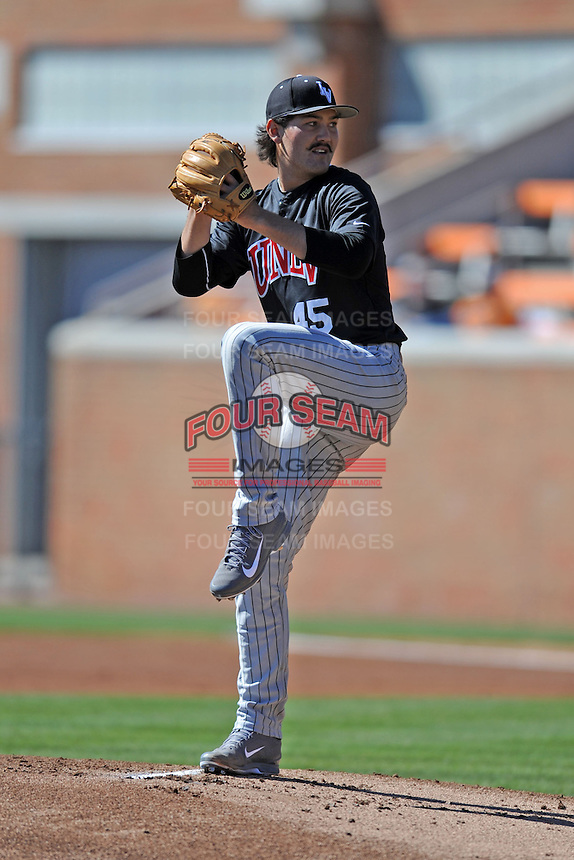 UNLV Runnin' Rebels starting pitcher John Richy #45 delivers a pitch during a game against the Tennessee Volunteers at Lindsey Nelson Stadium on February 22, 2014 in Knoxville, Tennessee. The Volunteers defeated the Rebels 5-4. (Tony Farlow/Four Seam Images)