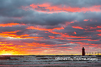 64795-02410 South Haven Lighthouse at sunset South Haven,  MI