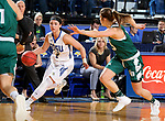 SIOUX FALLS, SD - NOVEMBER 29: Rylie Cascio Jensen #2 from South Dakota State looks to drive past Laken James #5 from Wisconsin Green Bay during their game Thursday night at Frost Arena in Brookings. (Photo by Dave Eggen/Inertia)