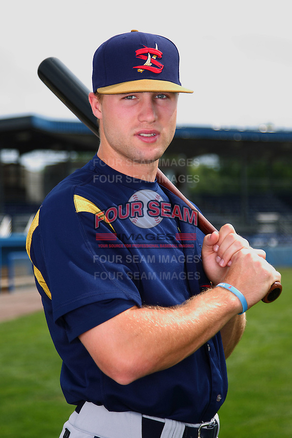 State College Spikes outfielder Taylor Lewis #25 poses for a photo before a game against the Batavia Muckdogs at Dwyer Stadium on July 7, 2011 in Batavia, New York.  Batavia defeated State College 16-3.  (Mike Janes/Four Seam Images)