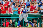 29 June 2017: Chicago Cubs outfielder Jon Jay in action against the Washington Nationals at Nationals Park in Washington, DC. The Cubs rallied to defeat the Nationals 5-4 and split their 4-game series. Mandatory Credit: Ed Wolfstein Photo *** RAW (NEF) Image File Available ***