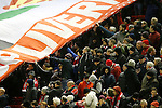 Liverpool fans hold out their hands to grab hold of a giant banner- English Premier League - Liverpool vs Manchester City - Anfield Stadium - Liverpool - England - 3rd March 2016 - Picture Simon Bellis/Sportimage