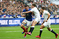 2nd February 2020, Stade de France, Paris; France, 6-Nations International rugby union, France versus England;  Charles Ollivon (France) is held by the England defence