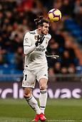 3rd February 2019, Santiago Bernabeu, Madrid, Spain; La Liga football, Real Madrid versus Alaves; Gareth Bale (Real Madrid) heads the ball forward