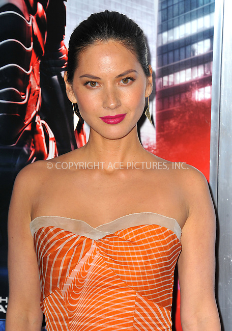 WWW.ACEPIXS.COM<br /> <br /> February 10 2014, New York City<br /> <br /> Actress Olivia Munn arriving at the Los Angeles premiere of 'Robocop' at TCL Chinese Theatre on February 10, 2014 in Hollywood, California<br /> <br /> By Line: Peter West/ACE Pictures<br /> <br /> <br /> ACE Pictures, Inc.<br /> tel: 646 769 0430<br /> Email: info@acepixs.com<br /> www.acepixs.com