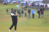 Shane Lowry (IRL) plays his 2nd shot on the 18th hole during Saturday's Round 3 of the Dubai Duty Free Irish Open 2019, held at Lahinch Golf Club, Lahinch, Ireland. 6th July 2019.<br /> Picture: Eoin Clarke | Golffile<br /> <br /> <br /> All photos usage must carry mandatory copyright credit (© Golffile | Eoin Clarke)