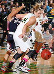 JANUARY 24, 2015 -- Logan Cowan #44 of Black Hills State tries to chase down a loose ball against CSU-Pueblo during their Rocky Mountain Athletic Conference women's basketball game at the Donald E. Young Center in Spearfish, S.D. Saturday. (Photo by Dick Carlson/Inertia)