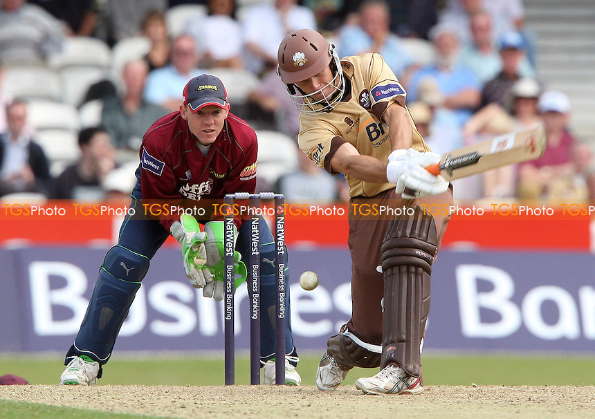 Stewart Walters of Surrey misses the ball which resulted in him being bowled for 91 by Northants bowler Jason Brown. Northants wicket keeper Nial O'Brien looks on - Surrey CCC vs Northamptonshire CCC - Natwest Pro40 League Division 2 at the Brit Oval - 17/08/08 - MANDATORY CREDIT: Rob Newell/TGSPHOTO - Self billing applies where appropriate - 0845 094 6026 - contact@tgsphoto.co.uk - NO UNPAID USE.