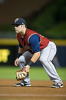 Scranton/Wilkes-Barre RailRiders first baseman Kyle Roller (23) on defense against the Durham Bulls at Durham Bulls Athletic Park on May 15, 2015 in Durham, North Carolina.  The RailRiders defeated the Bulls 8-4 in 11 innings.  (Brian Westerholt/Four Seam Images)
