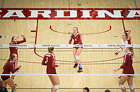STANFORD, CA - November 2, 2018: Jenna Gray, Kate Formico, Holly Campbell, Meghan McClure, Morgan Hentz, Kathryn Plummer at Maples Pavilion. No. 1 Stanford Cardinal defeated No. 15 Colorado Buffaloes 3-2.