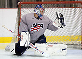 Brandon Maxwell (US White - 35) - US players take part in practice on Friday morning, August 8, 2008, in the NHL Rink during the 2008 US National Junior Evaluation Camp and Summer Hockey Challenge in Lake Placid, New York.