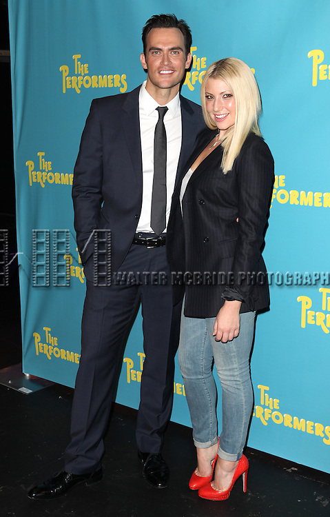 "Actor Cheyenne Jackson and actress Ari Graynor attends press event to introduce the cast and creators of the new Broadway play ""The Performers""at the Hard Rock Cafe on Tuesday, Sept. 25, 2012 in New York. (Photo by © Walter McBride/WM Photography//AP)"