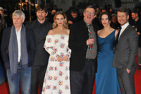 Sir Tom Courtenay, Michiel Huisman, Lily James, Mike Newell, Jessica Brown Findlay and Glen Powell at the &quot;The Guernsey Literary And Potato Peel Pie Society&quot; world film premiere, Curzon Mayfair cinema, Curzon Street, London, England, UK, on Monday 09 April 2018.<br /> CAP/CAN<br /> &copy;CAN/Capital Pictures