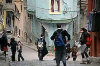 Schoolchildren in the historical neighbourhood of Fener, Istanbul, Turkey