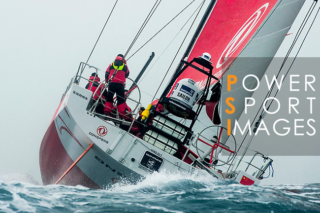 Dongfeng Race Team trains on Hong Kong waters ahead the 2014/15 Volvo Ocean Race on February 16, 2014 in Hong Kong, China. Photo by Xaume Olleros / Power Sport Images