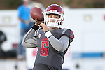 Peyton Bender warms up prior to the Washington State Cougars non-conference road opener against the Nevada Wolfpack at Mackay Stadium in Reno, Nevada, on September 5, 2014.
