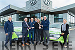 L-R Donie Shine, service manager, Adams Hyundai, Tralee, Marcus O'Shea, manager, Andrew Morrissey, Radio Kerry, Liam Shannon, sales, Elaine Kinsella, Radio Kerry, Paul Geaney, Hyundai Ambassador, Noel O'Connor, sales and Courtney Dwyer, receptionist, pictured last Thursday at Adams of Tralee, where the 2 Radio Kerry presenters were handed the keys to their brand new Hyundai electric cars.