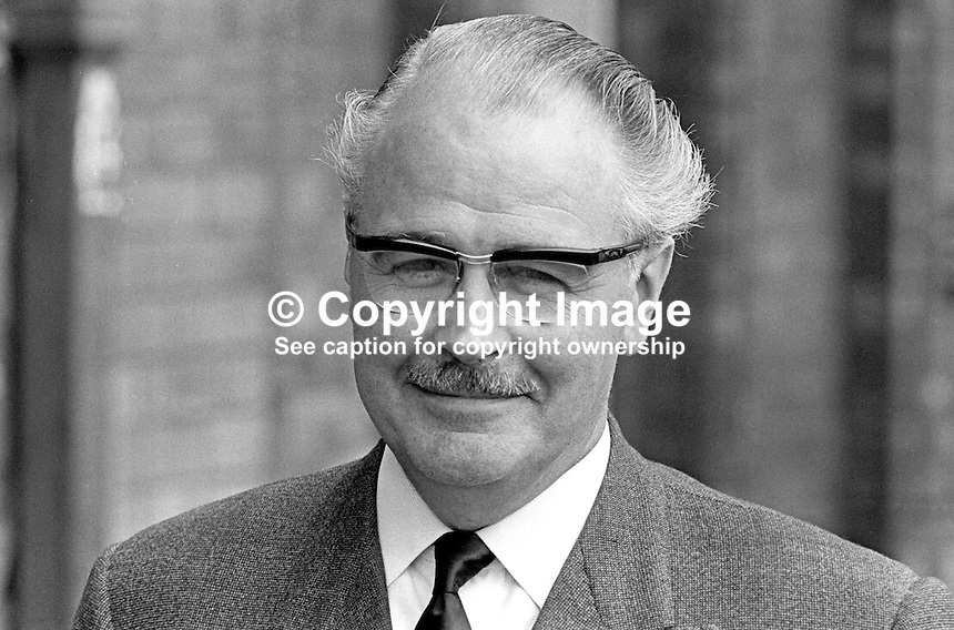 Captain L P S Orr, aka Captain Lawrence Percy Story Orr, Ulster Unionist, candidate, South Down, 1970 UK General Election. He retained the seat from 1950 to 1974. He was chairman of the Ulster Unionist MPs in Westminster. He was also Imperial Grand Master of the Orange Order.  197005000205a. <br /> <br /> Copyright Image from Victor Patterson, 54 Dorchester Park, Belfast, UK, BT9 6RJ<br /> <br /> Tel: +44 28 9066 1296<br /> Mob: +44 7802 353836<br /> Voicemail +44 20 8816 7153<br /> Skype: victorpattersonbelfast<br /> Email: victor@victorpatterson.com<br /> Email: victorpatterson@me.com (back-up)<br /> <br /> IMPORTANT: If you wish to use this image or any other of my images please go to www.victorpatterson.com and click on the Terms &amp; Conditions. Then contact me by email or phone with the reference number(s) of the image(s) concerned.