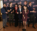 Brandon James Ellis, Joe Carroll, Beth Leavel, Corey Cott, Laura Osnes, Geoff Packard and James Nathan attend the 'Bandstand' Broadway cast photo call at the Rainbow Room on March 7, 2017 in New York City.