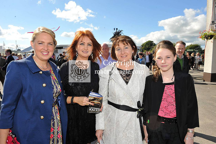 Nessa Donegan, Margaret and Liz Burns, ballyduff and Rachel Griffin, Causeway pictured at the Chic Boutique Best Dressed Lady at Listowel Races on Friday..Picture by Don MacMonagle..PR photo from Listowel Races