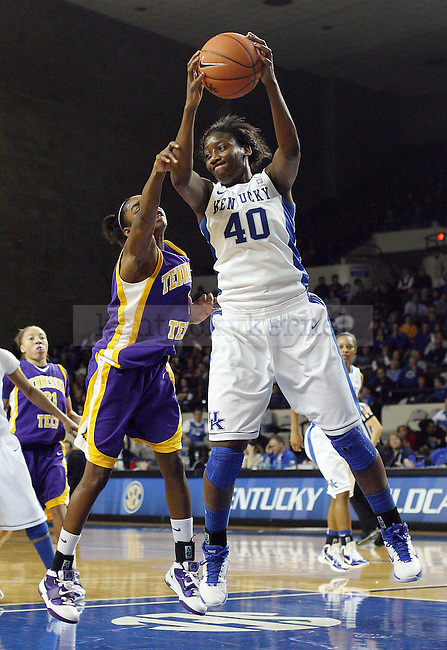 Sophomore forward Brittany Henderson grabs one of her six rebounds in the University of Kentucky's women's basketball game against Tennessee Tech University at Memorial Coliseum in Lexington, Ky., on Dec. 1, 2010. UK beat TTU 77-53. Photo by Taylor Tribble