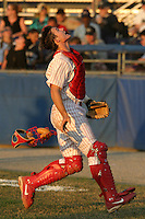 July 25, 2005:  Catcher Lou Marson of the Batavia Muckdogs during a game at Dwyer Stadium in Batavia, NY.  The Muckdogs are the Short Season Class-A affiliate of the Philadelphia Phillies.  Photo By Mike Janes/Four Seam Images
